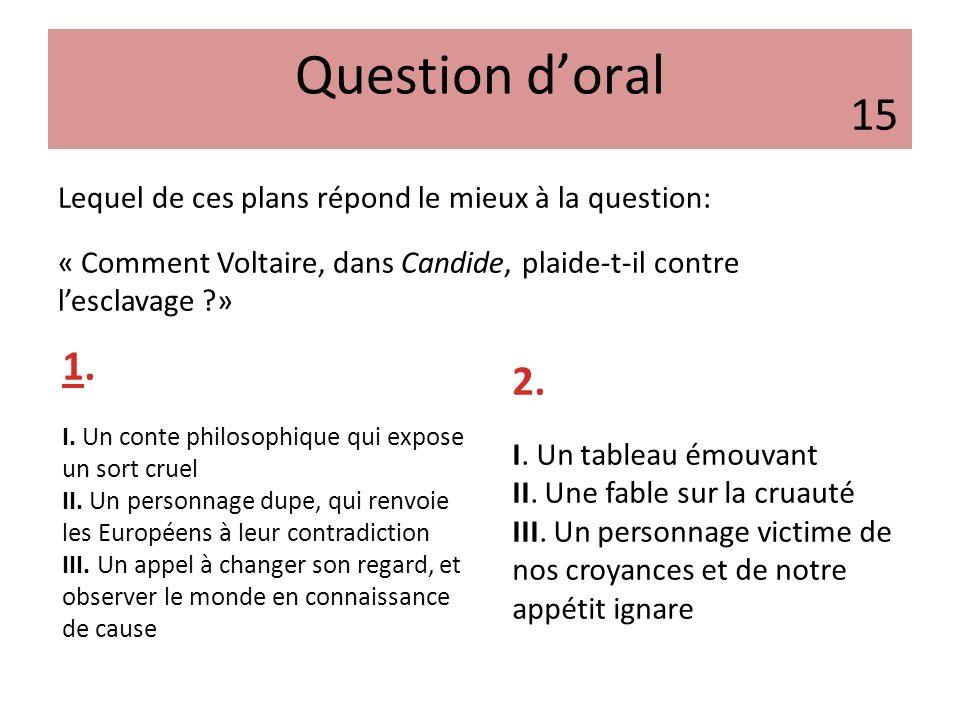 Question doral Lequel de ces plans répond le mieux à la question: « Comment Voltaire, dans Candide, plaide-t-il contre lesclavage ?» 1. I. Un conte ph