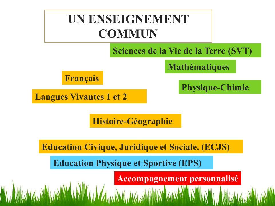 UN ENSEIGNEMENT COMMUN Français Mathématiques Histoire-Géographie Physique-Chimie Langues Vivantes 1 et 2 Sciences de la Vie de la Terre (SVT) Educati