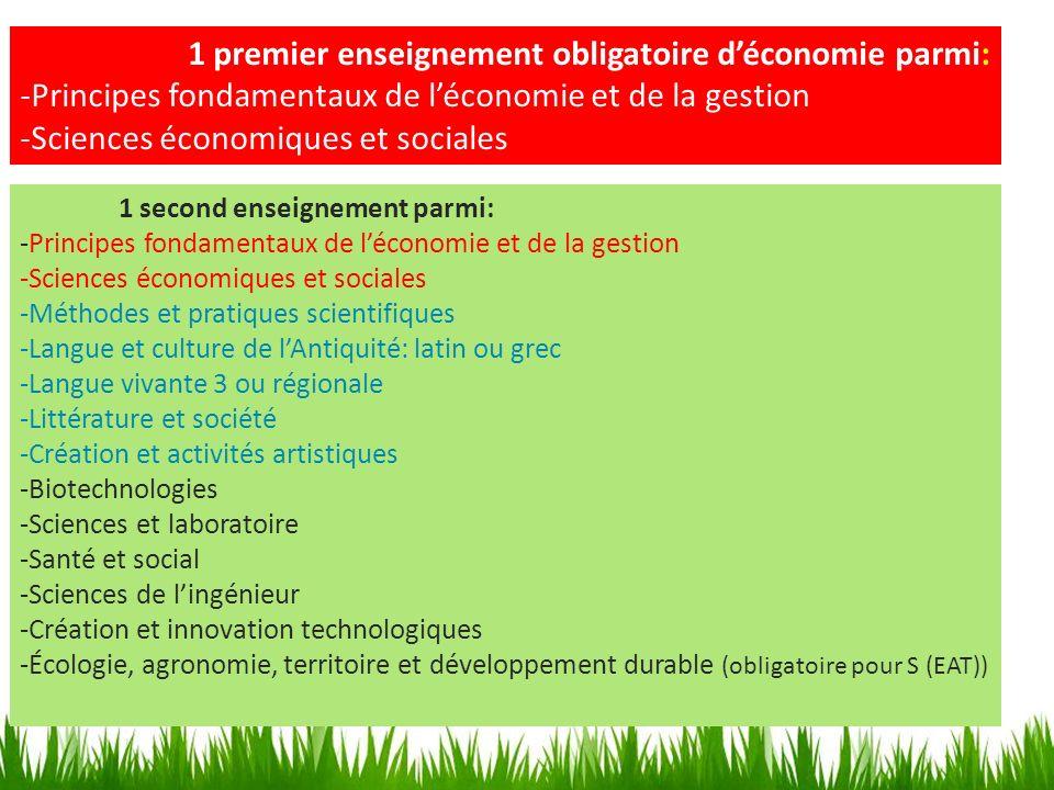 1 premier enseignement obligatoire déconomie parmi: -Principes fondamentaux de léconomie et de la gestion -Sciences économiques et sociales 1 second e