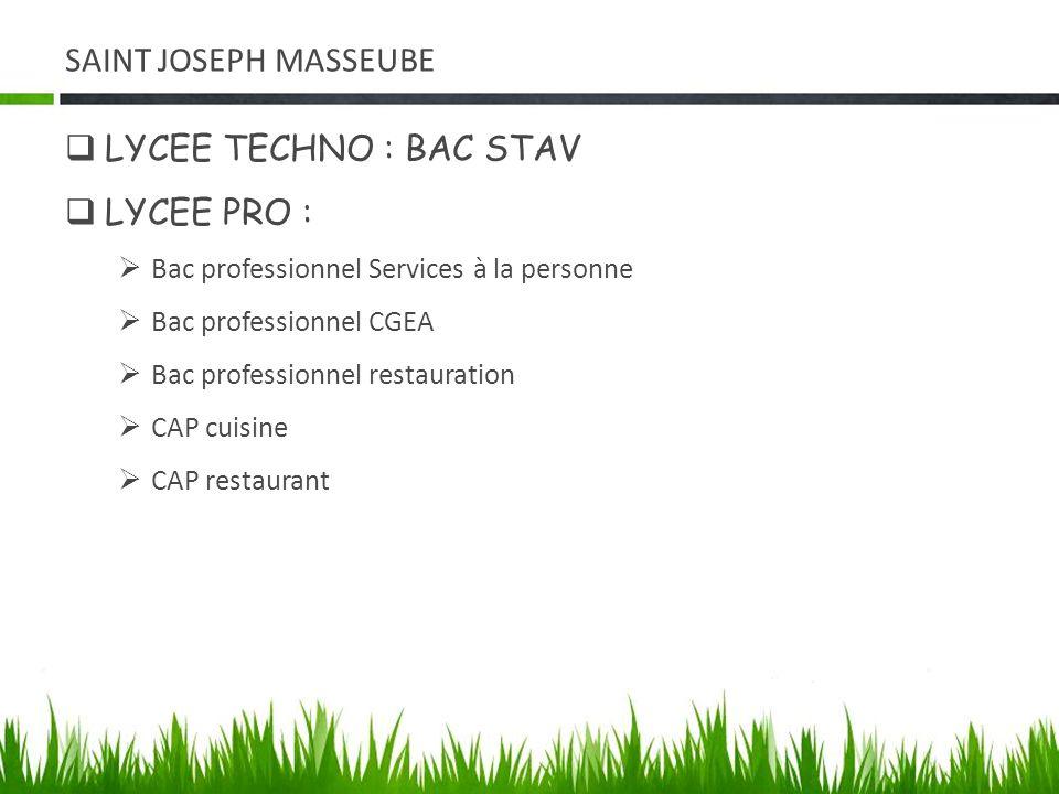 SAINT JOSEPH MASSEUBE LYCEE TECHNO : BAC STAV LYCEE PRO : Bac professionnel Services à la personne Bac professionnel CGEA Bac professionnel restaurati