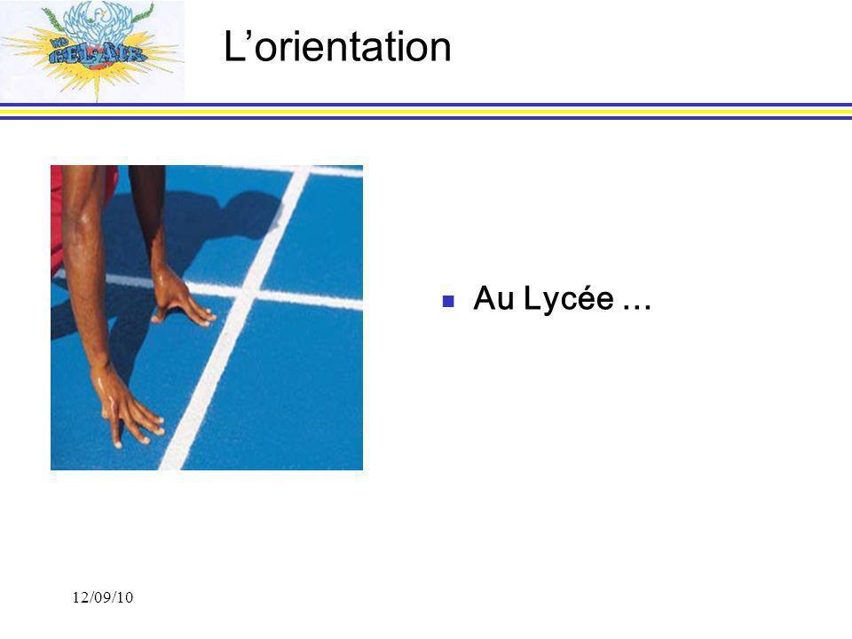 12/09/10 Au Lycée … Lorientation
