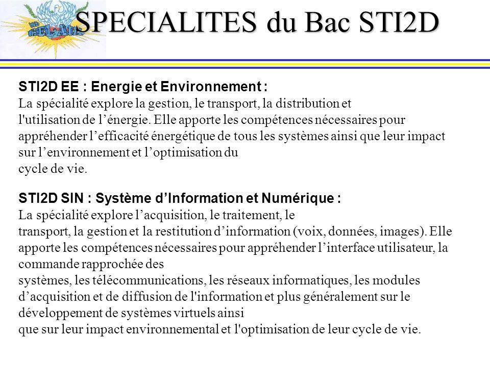 SPECIALITES du Bac STI2D STI2D EE : Energie et Environnement : La spécialité explore la gestion, le transport, la distribution et l utilisation de lénergie.