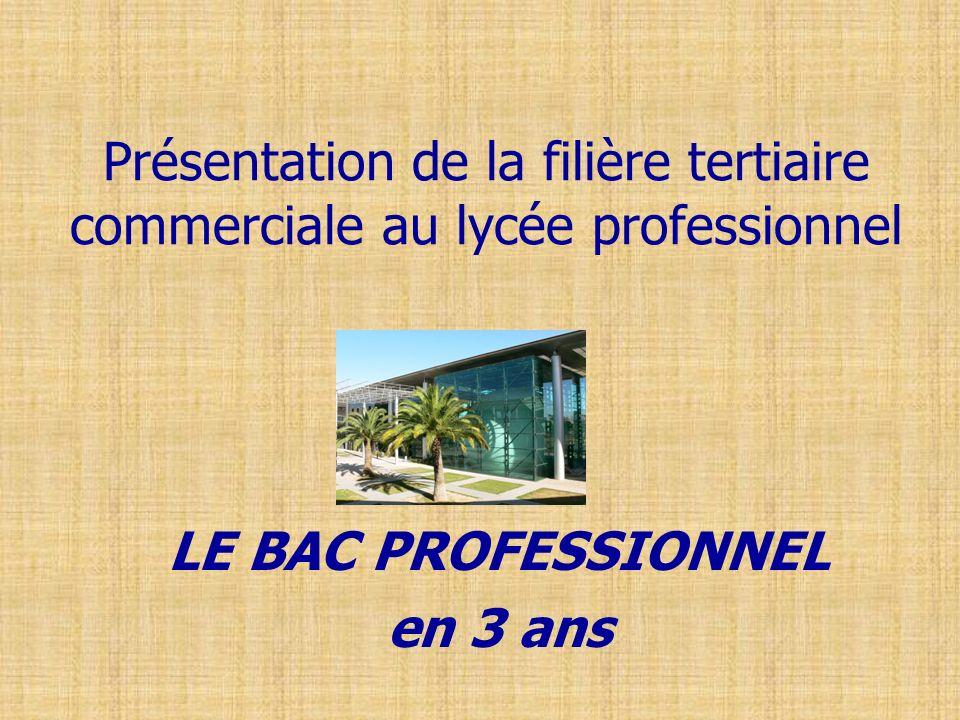 Présentation de la filière tertiaire commerciale au lycée professionnel LE BAC PROFESSIONNEL en 3 ans