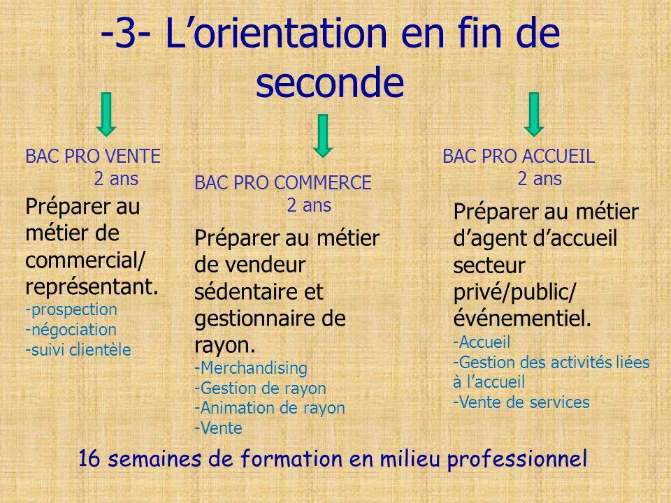 -3- Lorientation en fin de seconde BAC PRO ACCUEIL 2 ans BAC PRO COMMERCE 2 ans BAC PRO VENTE 2 ans Préparer au métier de commercial/ représentant. -p