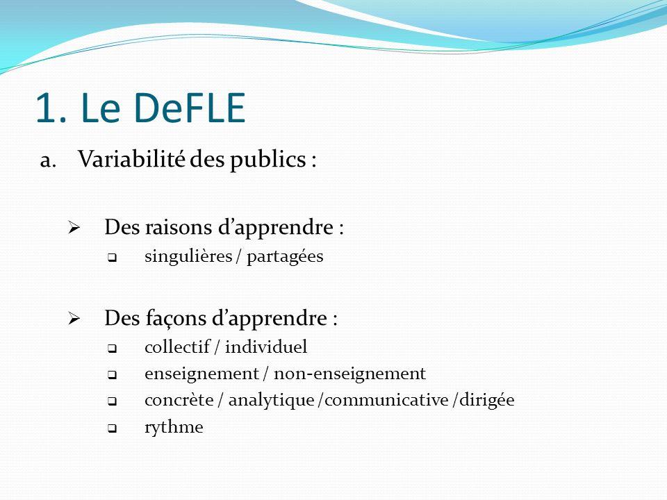 1. Le DeFLE a. Variabilité des publics : Des raisons dapprendre : singulières / partagées Des façons dapprendre : collectif / individuel enseignement