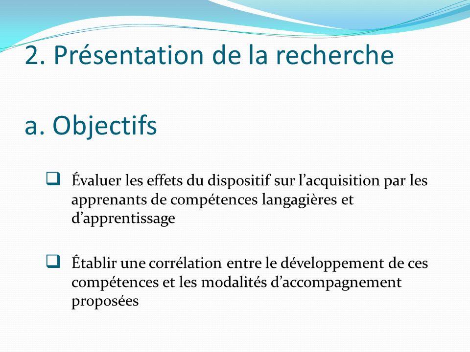 2. Présentation de la recherche a. Objectifs Évaluer les effets du dispositif sur lacquisition par les apprenants de compétences langagières et dappre
