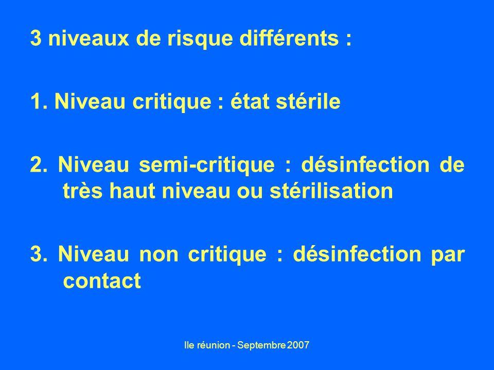 Ile réunion - Septembre 2007 REFERENCE Guide de désinfection des matériels médicaux