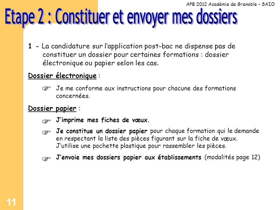 11 1 - La candidature sur lapplication post-bac ne dispense pas de constituer un dossier pour certaines formations : dossier électronique ou papier selon les cas.
