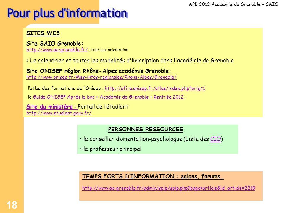 18 SITES WEB Site SAIO Grenoble: http://www.ac-grenoble.fr/ - rubrique orientation http://www.ac-grenoble.fr/ > Le calendrier et toutes les modalités d inscription dans l académie de Grenoble Site ONISEP région Rhône-Alpes académie Grenoble: http://www.onisep.fr/Mes-infos-regionales/Rhone-Alpes/Grenoble/ http://www.onisep.fr/Mes-infos-regionales/Rhone-Alpes/Grenoble/ latlas des formations de lOnisep : http://afira.onisep.fr/atlas/index.php orig=1http://afira.onisep.fr/atlas/index.php orig=1 le Guide ONISEP Après le bac - Académie de Grenoble - Rentrée 2012Guide ONISEP Après le bac - Académie de Grenoble - Rentrée 2012 Site du ministère : Site du ministère : Portail de létudiant http://www.etudiant.gouv.fr/ APB 2012 Académie de Grenoble - SAIO PERSONNES RESSOURCES le conseiller dorientation-psychologue (Liste des CIO)CIO le professeur principal TEMPS FORTS DINFORMATION : salons, forums… http://www.ac-grenoble.fr/admin/spip/spip.php page=article&id_article=2219