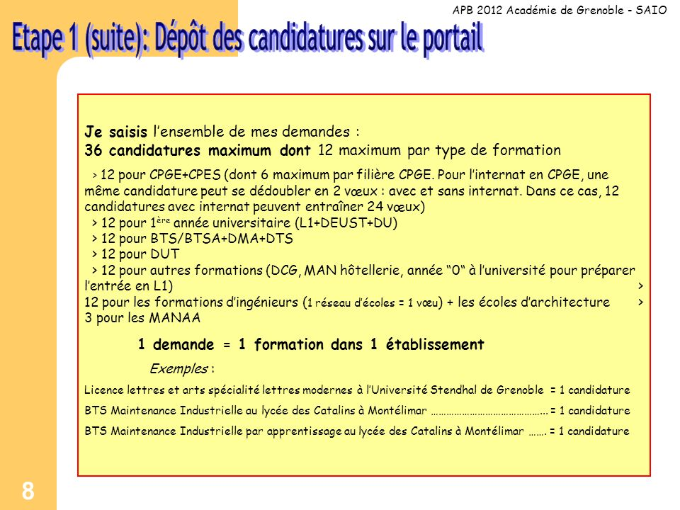 9 Je valide mes candidatures.