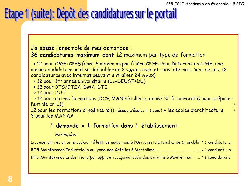8 Je saisis lensemble de mes demandes : 36 candidatures maximum dont 12 maximum par type de formation > 12 pour CPGE+CPES (dont 6 maximum par filière CPGE.