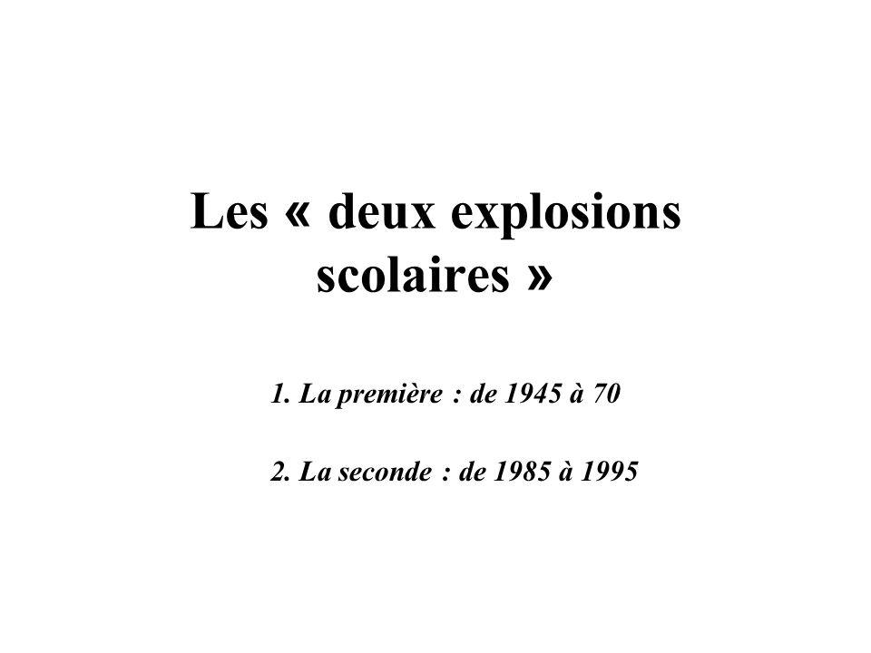 Les « deux explosions scolaires » 1. La première : de 1945 à 70 2. La seconde : de 1985 à 1995