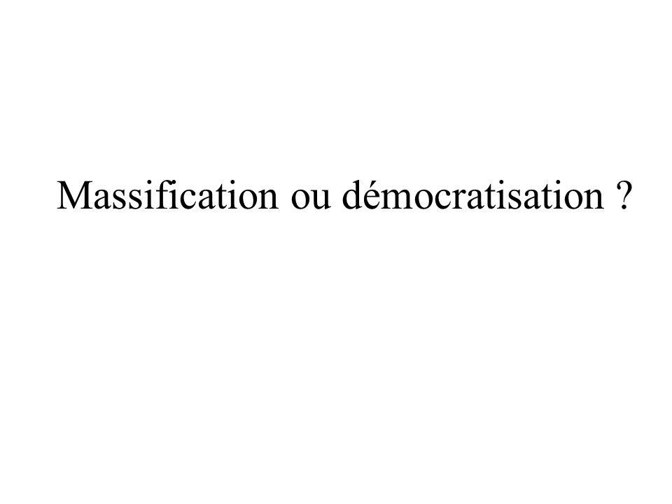 Proportion de bacheliers dans une génération par type de baccalauréat (en%) France 19701980198519901995200020052008 Bac général16,718,619,827,937,232,933,734,3 Bac techno3,47,39,612,817,618,517,316,6 Bac pro2,87,911,411,512,6 Ensemble20,125,929,443,561,462,862,563,6 Sources : Repères et références statistiques 2003 et autres MEN