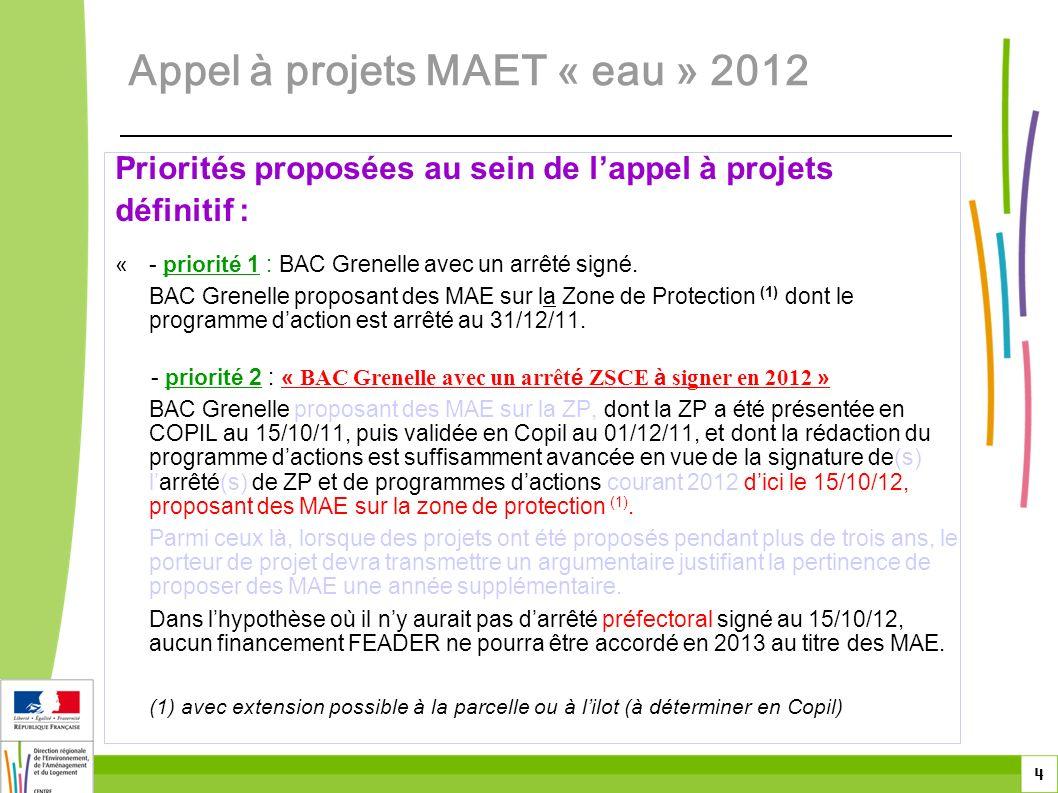 5 Priorités proposées au sein de lappel à projets définitif : - priorité 3 : « BAC Grenelle nouveaux ou en cours avec un plan dactions à valider en 2012 » BAC Grenelle, dont la zone de protection a été présentée en COPIL au 15/10/11 puis validée en COPIL au 01/12/11, dont la rédaction du plan dactions est suffisamment avancée en vue de sa validation en COPIL dici le 15/10/12 et pour lesquels des MAE nont pas été ouvertes à la contractualisation ou pendant au plus 2 ans sur la période 2007 à 2011, proposant des MAE sur la zone de protection (1).