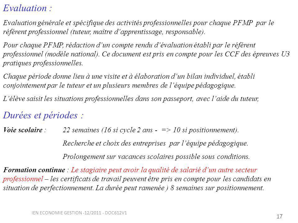 17 Evaluation : Evaluation générale et spécifique des activités professionnelles pour chaque PFMP par le référent professionnel (tuteur, maître dapprentissage, responsable).