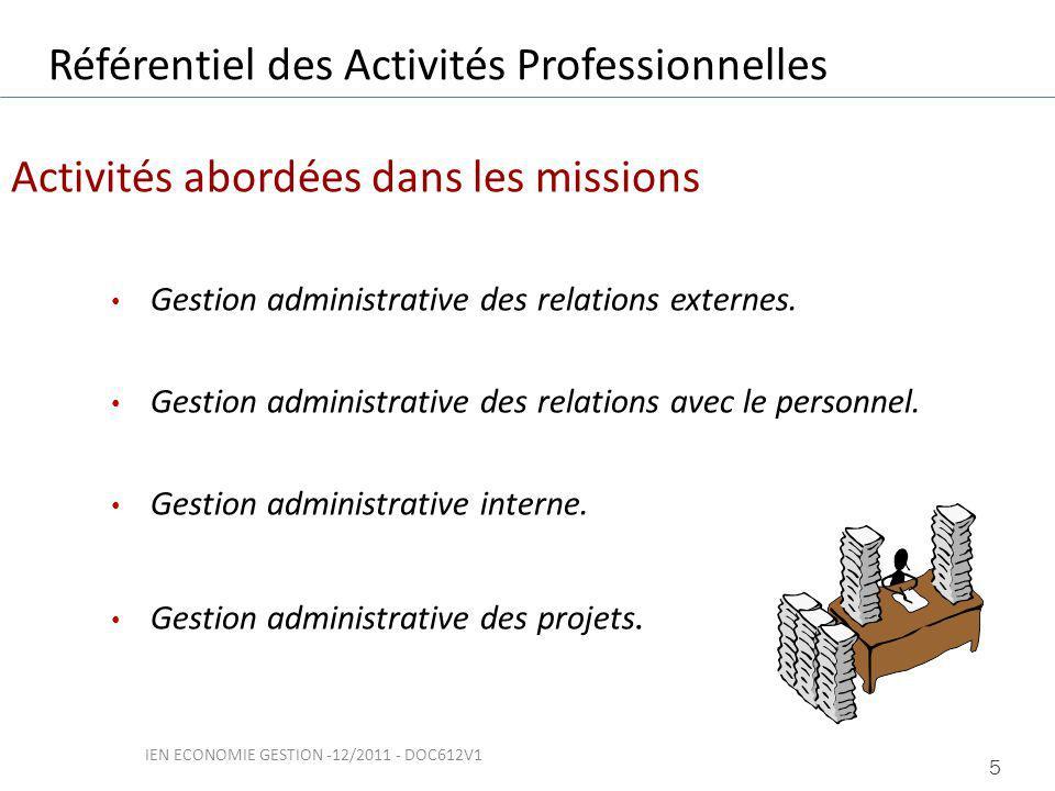 Activités abordées dans les missions Gestion administrative des relations externes.