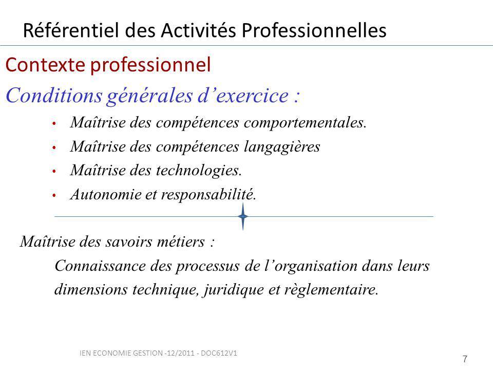 Contexte professionnel Conditions générales dexercice : Maîtrise des compétences comportementales.
