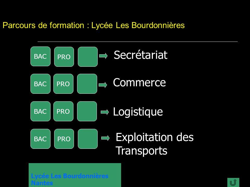 Lycée Les Bourdonnières Nantes Parcours de formation : Lycée Les Bourdonnières BACPRO Commerce BAC PRO Secrétariat BACPRO Logistique BACPRO Exploitation des Transports