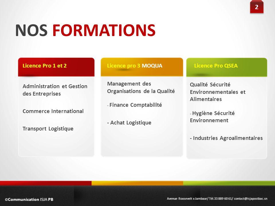 NOS FORMATIONS Administration et Gestion des Entreprises Commerce International Transport Logistique Licence Pro 1 et 2 2 2 Management des Organisatio