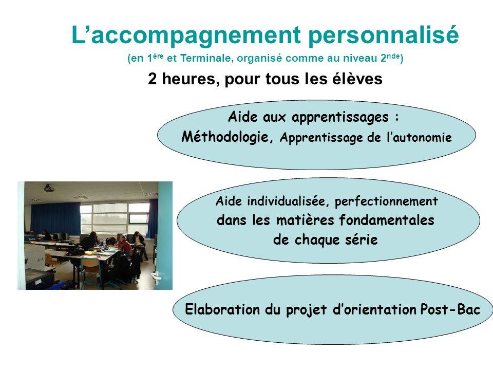 Laccompagnement personnalisé (en 1 ère et Terminale, organisé comme au niveau 2 nde ) 2 heures, pour tous les élèves Aide aux apprentissages : Méthodo