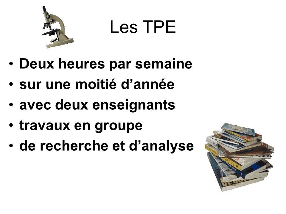 Les TPE Deux heures par semaine sur une moitié dannée avec deux enseignants travaux en groupe de recherche et danalyse