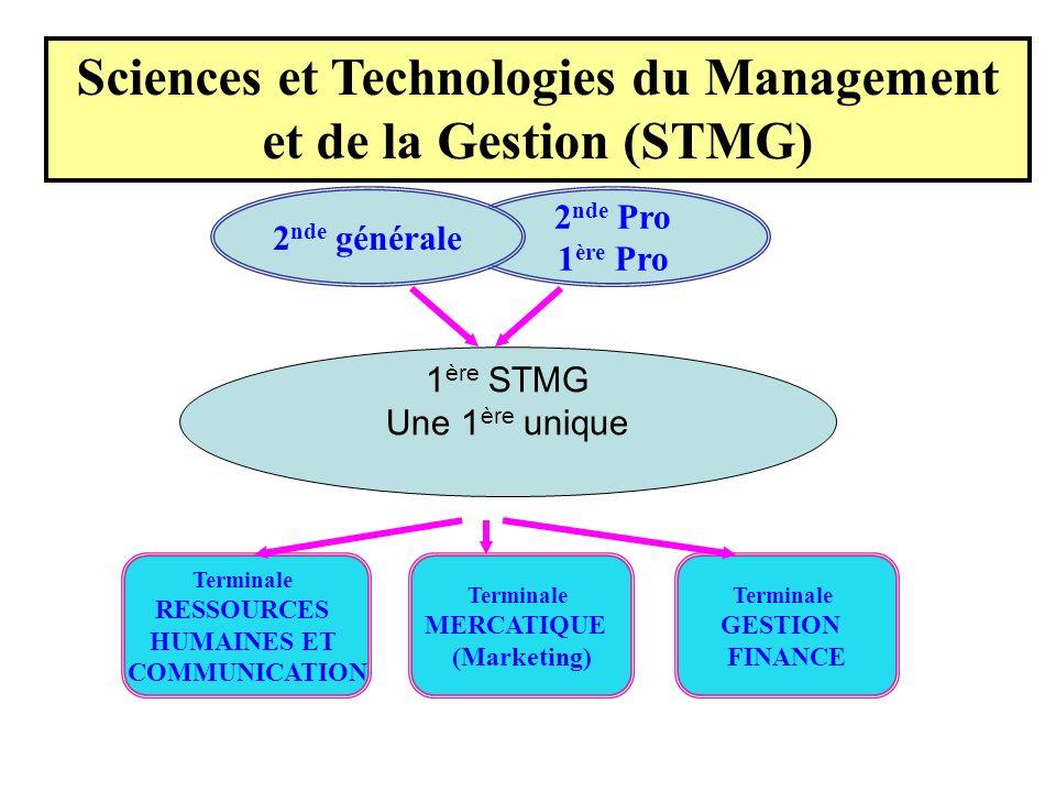 2 nde Pro 1 ère Pro 2 nde générale Sciences et Technologies du Management et de la Gestion (STMG) Terminale GESTION FINANCE 1 ère STMG Une 1 ère uniqu