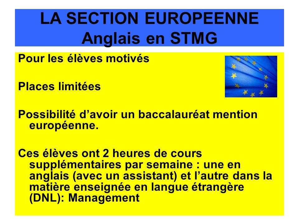 LA SECTION EUROPEENNE Anglais en STMG Pour les élèves motivés Places limitées Possibilité davoir un baccalauréat mention européenne. Ces élèves ont 2