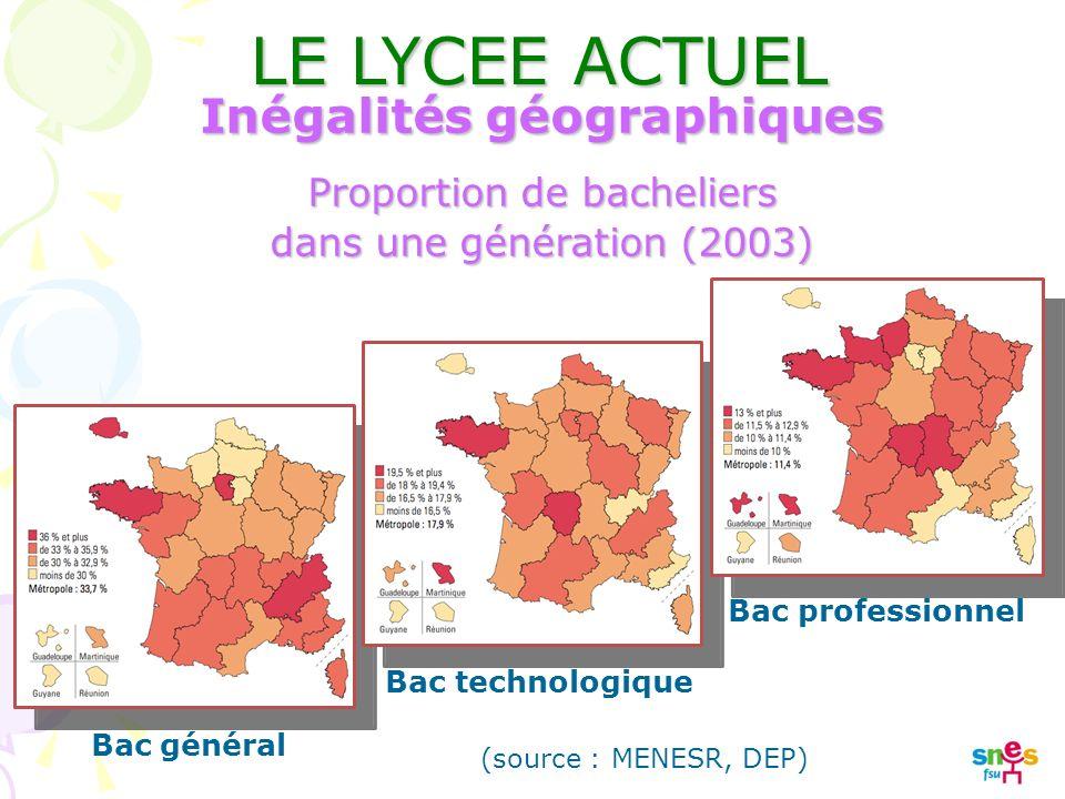 Bac général Bac technologique Bac professionnel (source : MENESR, DEP) Inégalités géographiques Proportion de bacheliers dans une génération (2003) LE LYCEE ACTUEL