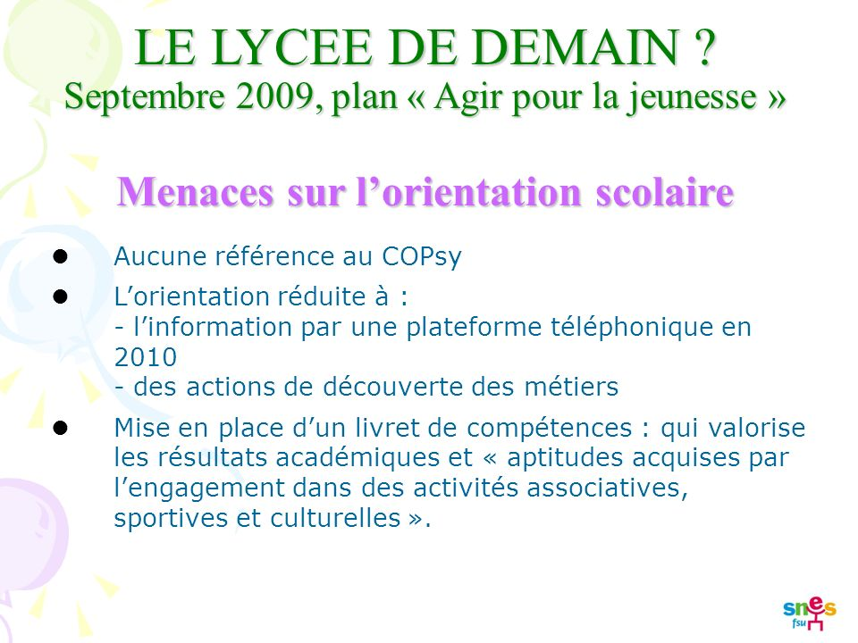 LE LYCEE DE DEMAIN .