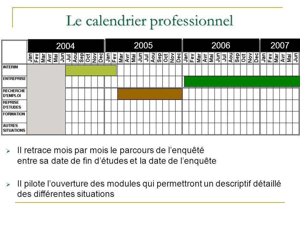 Le calendrier professionnel Il retrace mois par mois le parcours de lenquêté entre sa date de fin détudes et la date de lenquête Il pilote louverture des modules qui permettront un descriptif détaillé des différentes situations 2004 2005 2006 2007