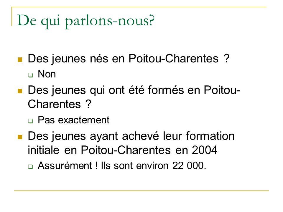 De qui parlons-nous. Des jeunes nés en Poitou-Charentes .
