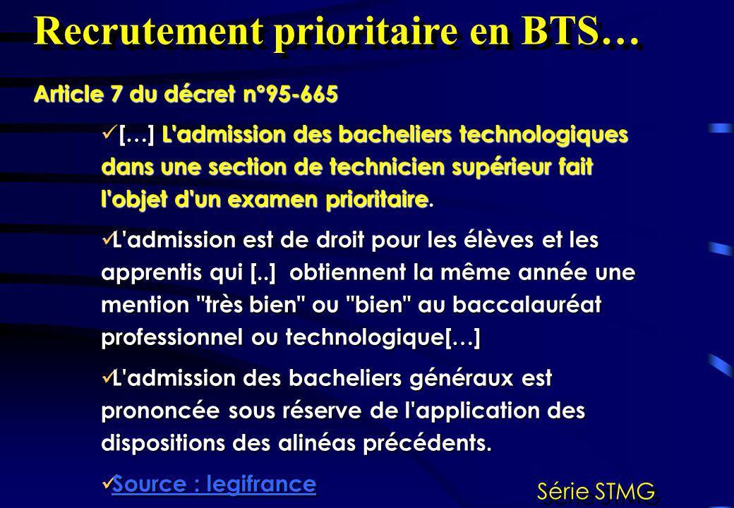 Recrutement prioritaire en BTS… Série STMG Article 7 du décret n°95-665 […] L'admission des bacheliers technologiques dans une section de technicien s