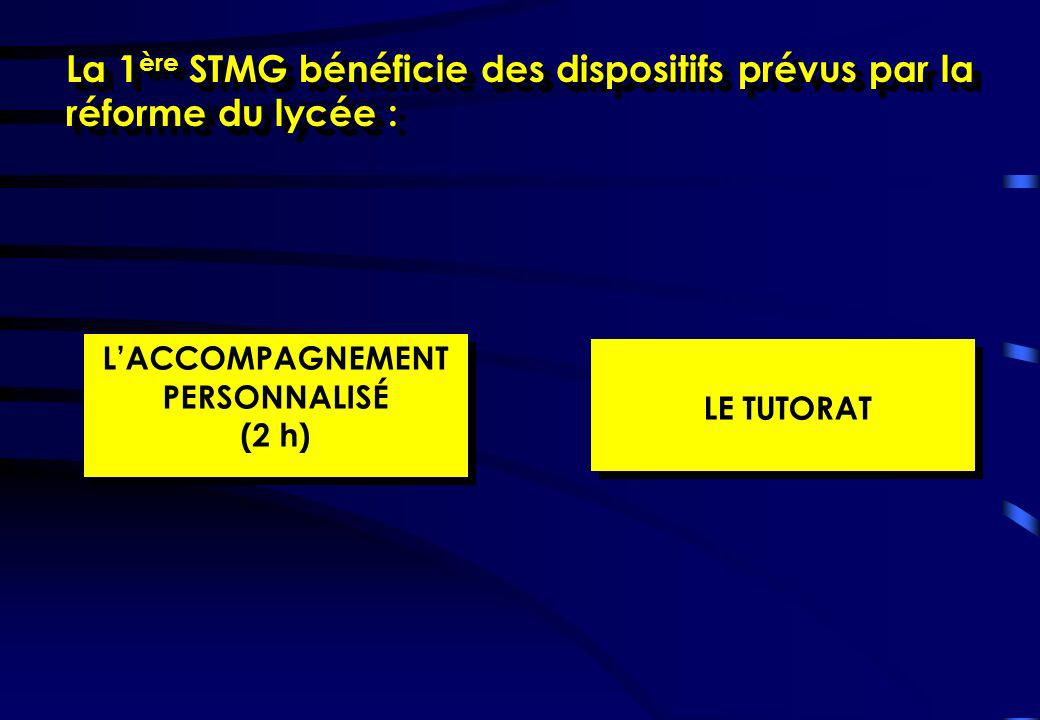 La 1 ère STMG bénéficie des dispositifs prévus par la réforme du lycée : LACCOMPAGNEMENT PERSONNALISÉ (2 h) LACCOMPAGNEMENT PERSONNALISÉ (2 h) LE TUTO