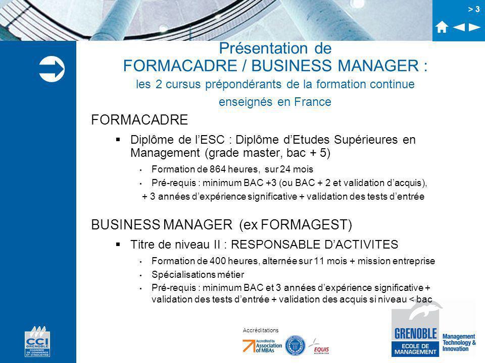 Accréditations > 3 Présentation de FORMACADRE / BUSINESS MANAGER : les 2 cursus prépondérants de la formation continue enseignés en France FORMACADRE Diplôme de lESC : Diplôme dEtudes Supérieures en Management (grade master, bac + 5) Formation de 864 heures, sur 24 mois Pré-requis : minimum BAC +3 (ou BAC + 2 et validation dacquis), + 3 années dexpérience significative + validation des tests dentrée BUSINESS MANAGER (ex FORMAGEST) Titre de niveau II : RESPONSABLE DACTIVITES Formation de 400 heures, alternée sur 11 mois + mission entreprise Spécialisations métier Pré-requis : minimum BAC et 3 années dexpérience significative + validation des tests dentrée + validation des acquis si niveau < bac