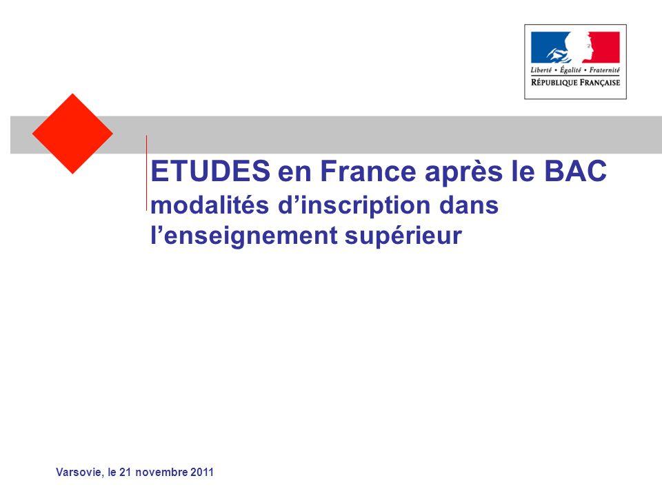 ETUDES en France après le BAC modalités dinscription dans lenseignement supérieur Varsovie, le 21 novembre 2011