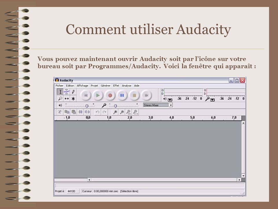 Comment utiliser Audacity Vous pouvez maintenant ouvrir Audacity soit par licône sur votre bureau soit par Programmes/Audacity. Voici la fenêtre qui a