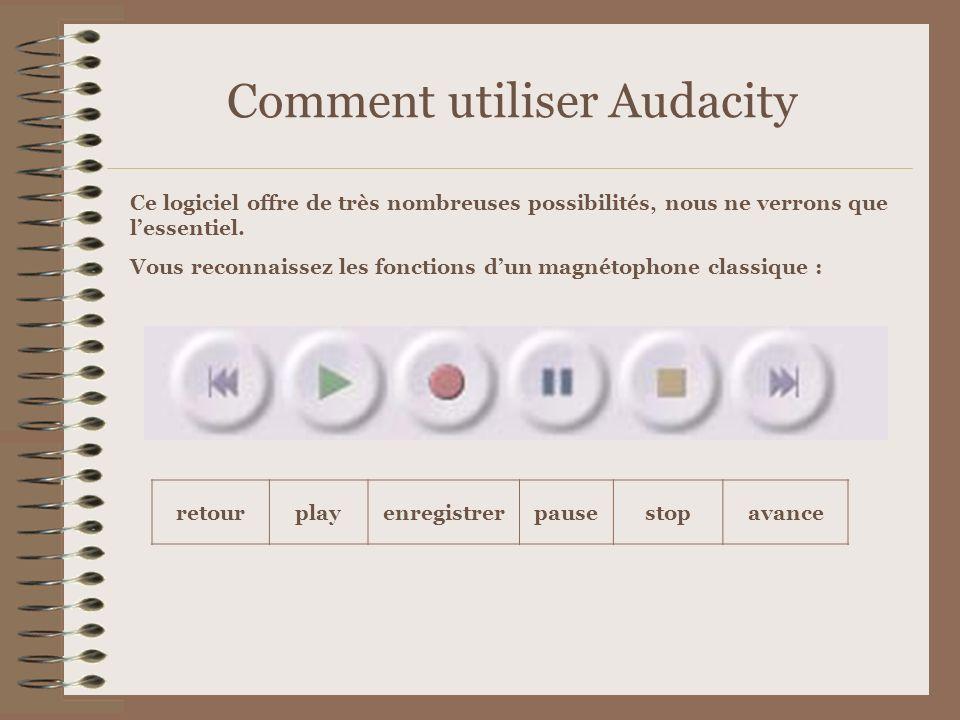 Comment utiliser Audacity Ce logiciel offre de très nombreuses possibilités, nous ne verrons que lessentiel. Vous reconnaissez les fonctions dun magné