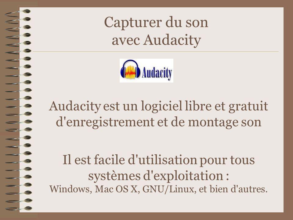 Capturer du son avec Audacity Audacity est un logiciel libre et gratuit d'enregistrement et de montage son Il est facile d'utilisation pour tous systè