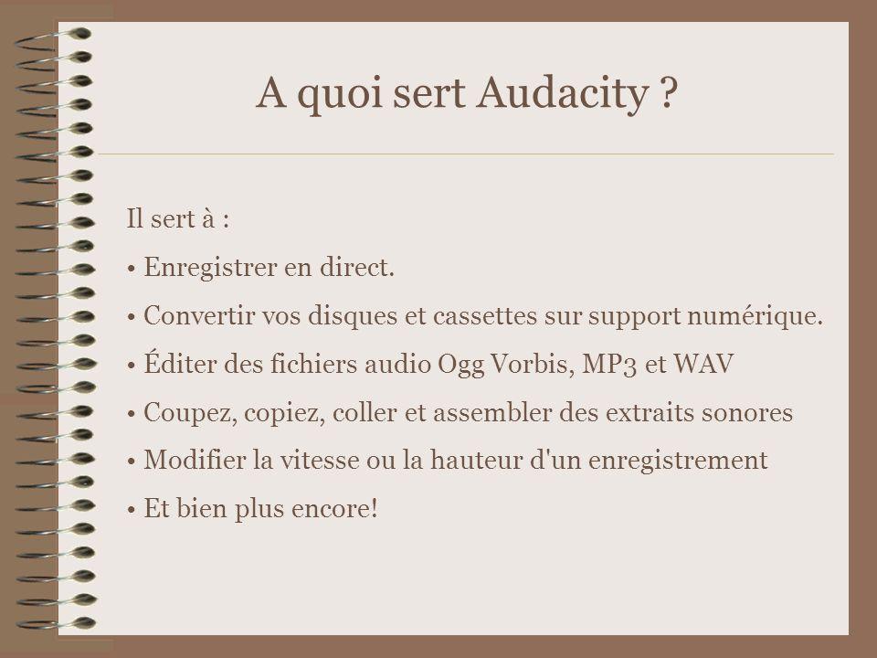 Comment télécharger Audacity Pour les « pro » Télécharger le logiciel Audacity sur http://audacity.sourceforge.net/download/http://audacity.sourceforge.net/download/ enregistrer le fichier dans C: Program Files, après y avoir créé un dossier Audacity télécharger l encodeur MP3 à cette page http://www-users.york.ac.uk/~raa110/audacity/lame.htmlhttp://www-users.york.ac.uk/~raa110/audacity/lame.html sélectionner le premier lame-3.96.1 le télécharger dans C: Program Files Audacity aller dans Poste de travail C: Program Files Audacity Installer le logiciel Audacity en suivant les instructions à l écran ouvrir le fichier.zip qui s appelle lame-3.96.1 une nouvelle fenêtre s ouvre sélectionner tous les fichiers, puis les couper cliquer sur précédente les copier dans le dossier Audacity Lancer Audacity (Pour un Mac, ne pas oublier de cliquer sur Mac sur le site d Audacity) Pour encoder en MP3, indiquer à Audacity où se trouve le fichier lame_enc.dll
