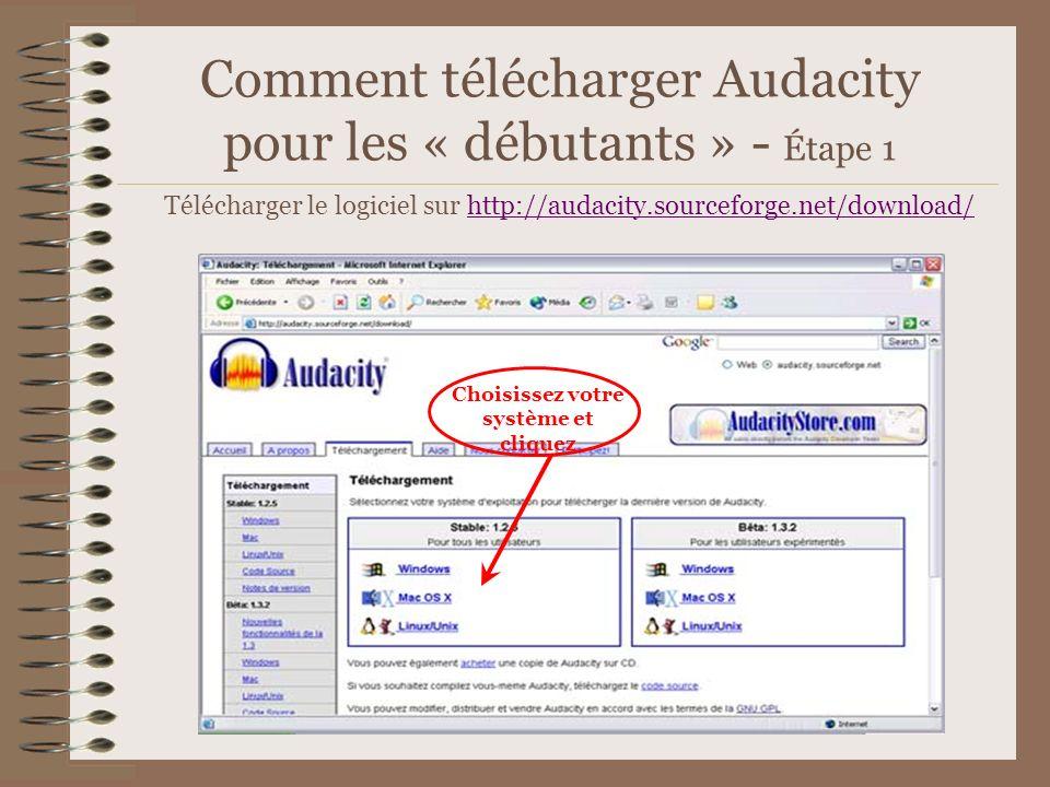 Comment télécharger Audacity pour les « débutants » - Étape 1 Télécharger le logiciel sur http://audacity.sourceforge.net/download/http://audacity.sou