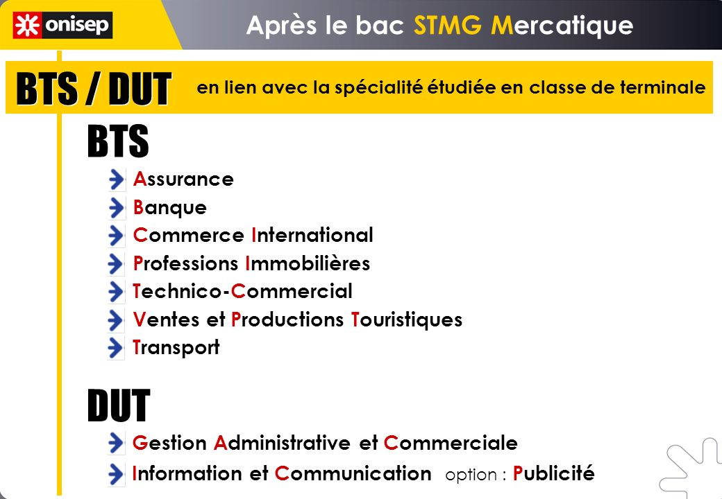 BTS / DUT Après le bac STMG Mercatique Assurance Banque Commerce International Professions Immobilières Technico-Commercial Ventes et Productions Tour