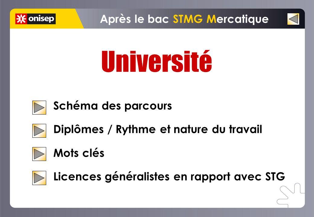 Université Schéma des parcours Diplômes / Rythme et nature du travail Mots clés Licences généralistes en rapport avec STG Après le bac STMG Mercatique