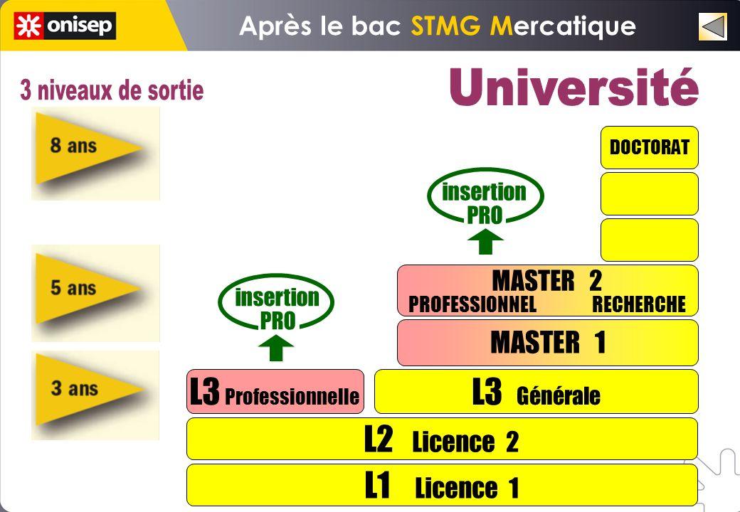 L1 Licence 1 L2 Licence 2 L3 Professionnelle L3 Générale MASTER 1 DOCTORAT insertion PRO insertion PRO MASTER 2 PROFESSIONNEL RECHERCHE Après le bac S