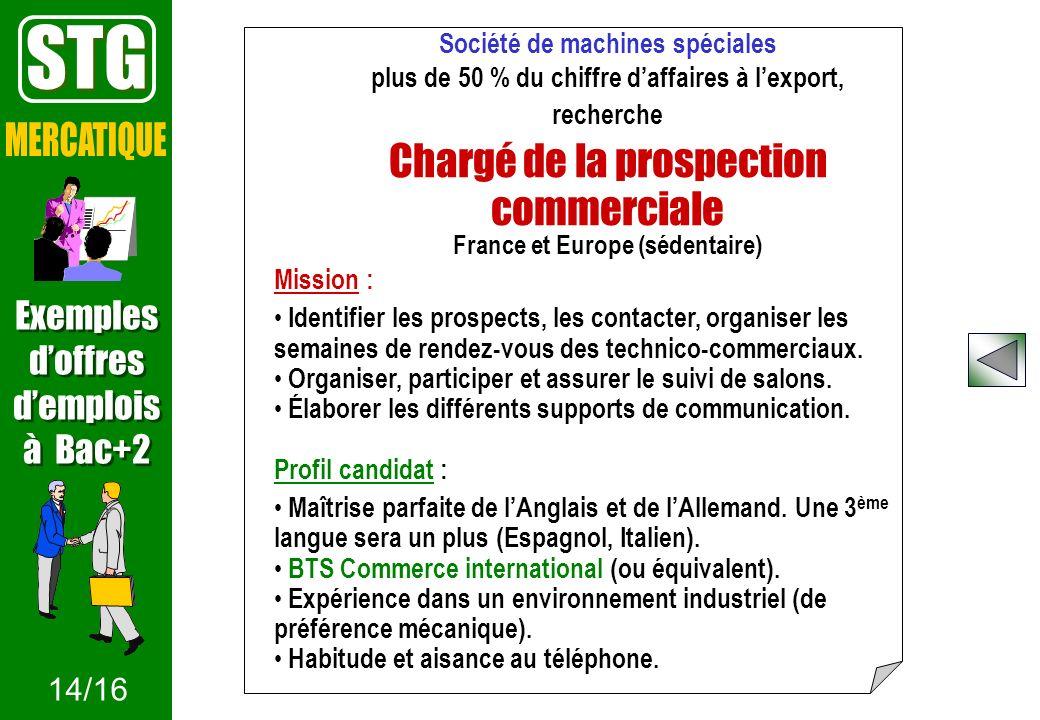Société de machines spéciales plus de 50 % du chiffre daffaires à lexport, recherche Chargé de la prospection commerciale France et Europe (sédentaire