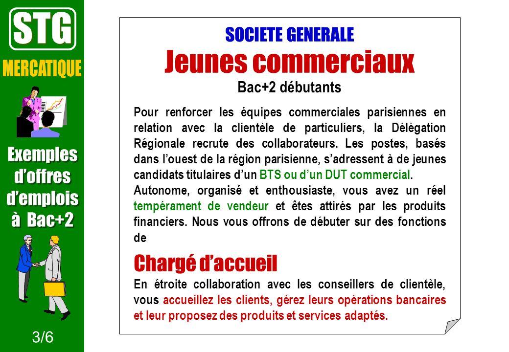 SOCIETE GENERALE Jeunes commerciaux Bac+2 débutants Pour renforcer les équipes commerciales parisiennes en relation avec la clientèle de particuliers,
