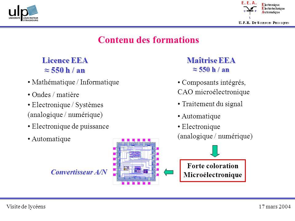 Visite de lycéens17 mars 2004 Contenu des formations Licence EEA 550 h / an 550 h / an Maîtrise EEA 550 h / an 550 h / an Mathématique / Informatique
