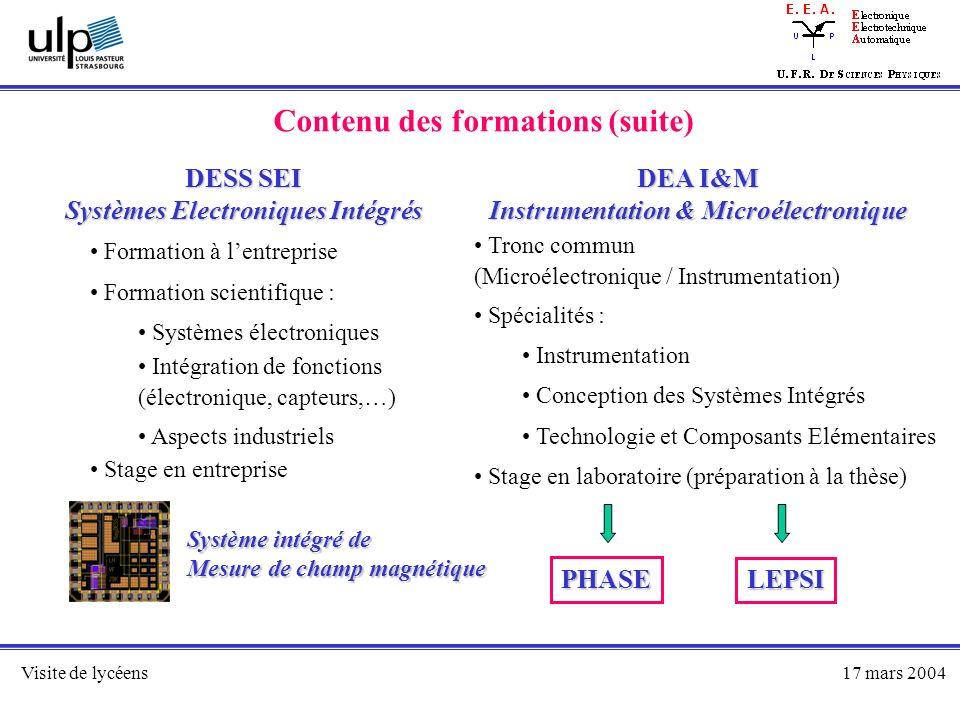 Visite de lycéens17 mars 2004 Contenu des formations (suite) DESS SEI Systèmes Electroniques Intégrés DEA I&M Instrumentation & Microélectronique Form