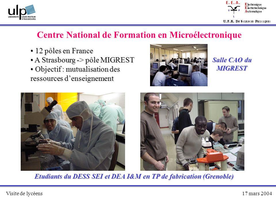 Visite de lycéens17 mars 2004 Centre National de Formation en Microélectronique 12 pôles en France 12 pôles en France A Strasbourg -> pôle MIGREST A S