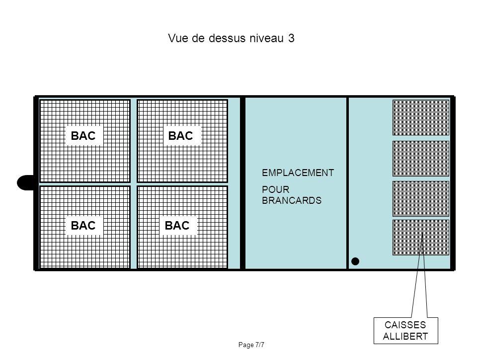 EMPLACEMENT POUR BRANCARDS BAC Vue de dessus niveau 3 CAISSES ALLIBERT Page 7/7