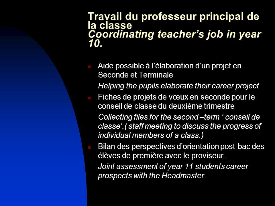 Travail du professeur principal de la classe Coordinating teachers job in year 10. Aide possible à lélaboration dun projet en Seconde et Terminale Hel